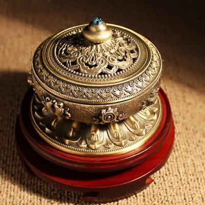10CM Retro Incense Burner Holder Chinese Bronze Cone Flower Statue Censer