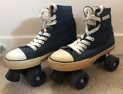 Roces Navy Blue Womens Converse Style Chuck Classic Quad Roller Skates Size 4