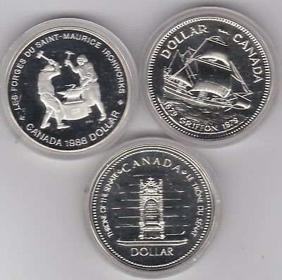 Canada 1979 Ship & 1988 Iron 50% Silver Dollars In Mint Condition With Capsules