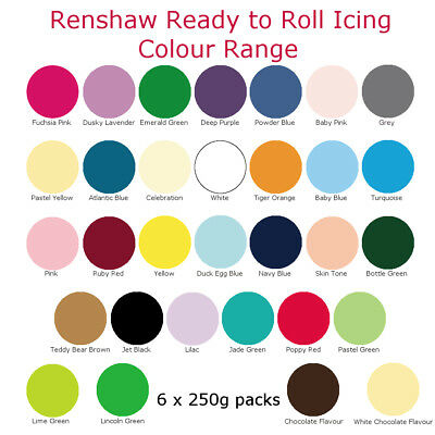 Renshaw Ready To Roll Colour Cake Icing Fondant Sugarpaste For Decorating 1.5Kg