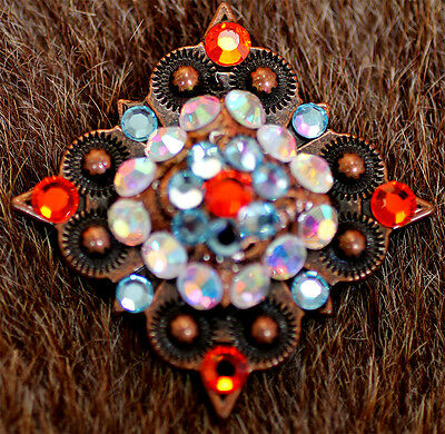 4 Conchos Rhinestone Horse Saddle Western Rodeo Bridle Berry Red CO50