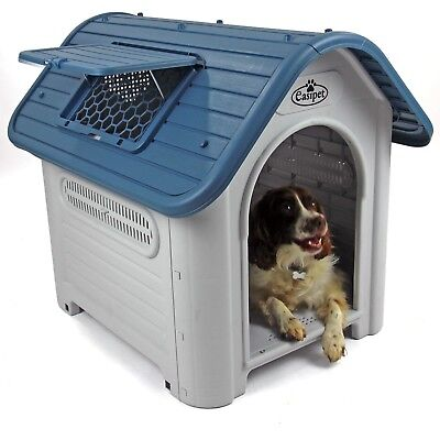 Plastic Dog Kennel Pet House Weatherproof Indoor Outdoor Animal Shelter Easipet