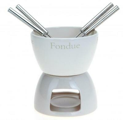 Ceramic Cheese Chocolate Tea Light Candle Fondue Set Pot with 4 Forks