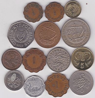 14 Coins From Cyprus Dated 1942 To 2004 In Fine And Better Condition