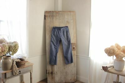Vintage French work chore pants clothes blue farmers utilitarian trousers 32 w