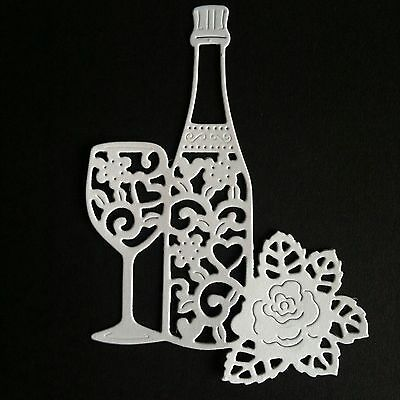 8 X Champagne/wine Bottle Glass & Rose Die Cut Shapes-White-Wedding Anniversary