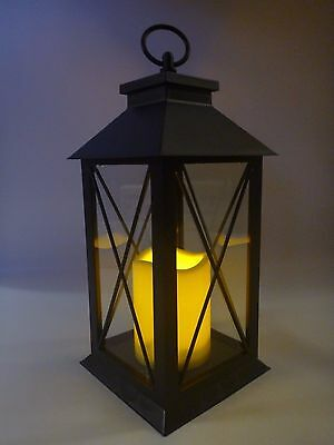 Lumineo Indoor Outdoor LED Battery Flicker Candle Lantern With Timer