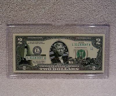 Maine  $2 Two Dollar Bill - Colorized State Landmark - Uncirculated Authentic