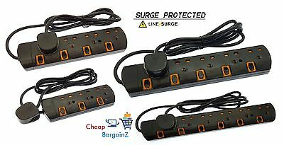 2M Surge Protected With Switch Extension Lead Cable 3 4 5 6 Way Plugs In Black