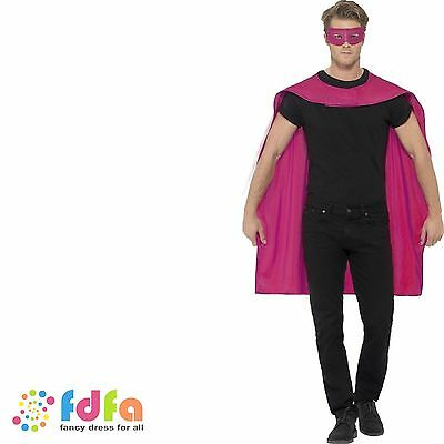 PINK SUPER HERO MID LENGTH CAPE & EYEMASK Adult Ladies Mens Fancy Dress Costume