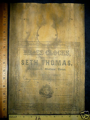 Seth Thomas Plymouth Hollow Conn Label Antique OG Weight Clock Parts