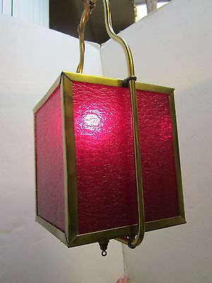 Mid Century Square Brass Red Patterned Glass Ceiling fixture Hall Lamp Vintage