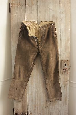 Vintage French Cords men's Corduroy pants brown soft 1920's 34w trousers hunting
