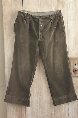 Vintage French Cords men's Corduroy pants brown soft 1930's 36w trousers hunting