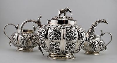 Antique, Sterling Silver, Anglo-Indian tea set