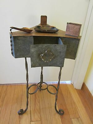 Arts & Crafts1904 iron copper Smoking Stand pipe rest match holder Original Vtg