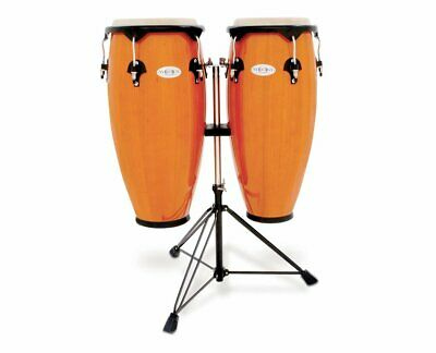 """TOCA SYNERGY WOOD CONGA DRUM SET w/ DOUBLE STAND - AMBER 10"""" & 11"""""""