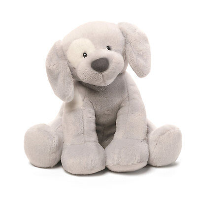 Dog Plush Keywind Baby Toy – Gray