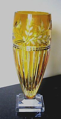 "Signed  Ajka Vase Prionnseas Yellow Cased Crystal 13 1/4""  Made in Hungary (D)"