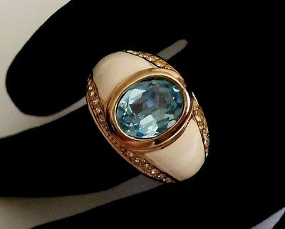 Signed Christian Dior Gold Plated Ring with Aquamarine Crystal -Size Adjustable