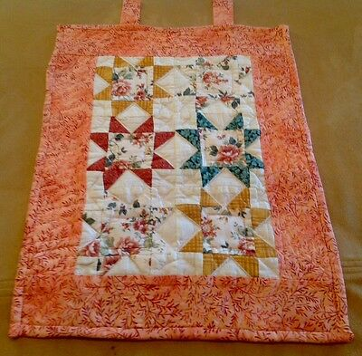 Vintage Patchwork Wall Quilt, STAR, Floral Calicos, Peach, Green, HAND Quilted