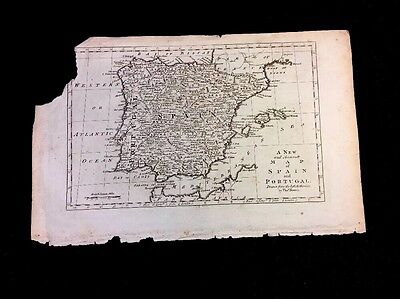 ANTIQUE MAP OF SPAIN & PORTUGAL  ca 1770