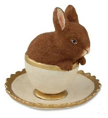 "Bethany Lowe ""Bunny in Teacup"" (Brown Flocked Bunny) (TD3003)"