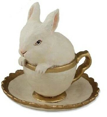 "Bethany Lowe ""Bunny in Teacup"" (White Flocked Bunny) (TD3003)"