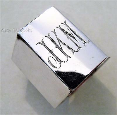 Vintage Art Deco Solid Silver Hexagonal Napkin Ring By Alexander Clark & Co 1928