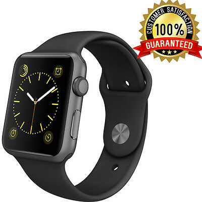 Apple Watch 42mm Space Grey Aluminum Case with Black Sports Band