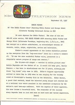 1957 NBC Color TV news release Eddie Fisher, mentions baby Carrie