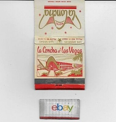 La Concha Motel Las Vegas,nevada 2955 Las Vegas Blvd Matchbook Cover 1960's