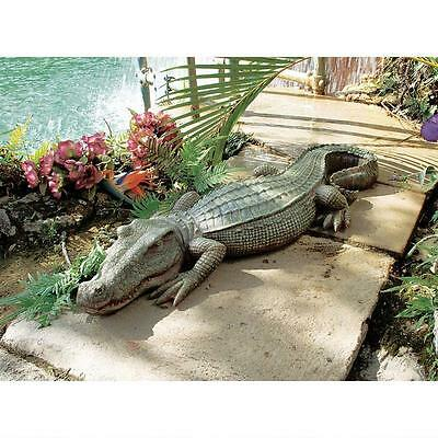 Alligator Sculpture Home Garden Pond Crocodile Outdoor Gator Decor