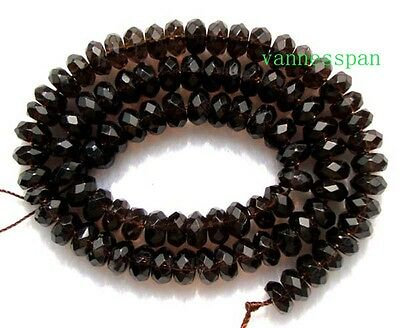 """Natural Smoky Quartz Faceted Rondelle Beads 4×8mm15.5"""""""