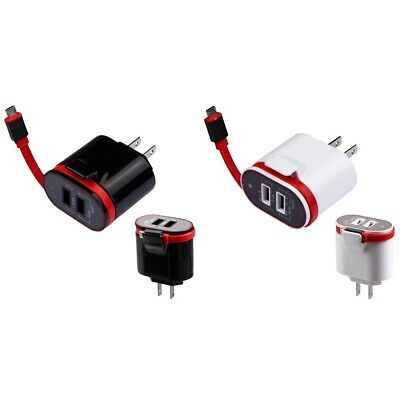 3.1A Fast Rapid Micro USB Travel Wall Home Charger w/ Attached Cable For Phones