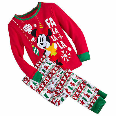 Disney Store Minnie Mouse Holiday 2pc Christmas Pajamas PJ's Girls 2 3 4