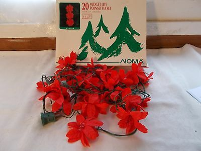 New Noma 20 Midget Lite Poinsettia Christmas Lights Silk?
