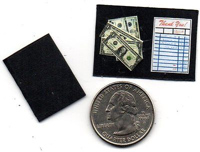 2 Miniature  DINER / RESTAURANT CHECK & US Dollars - Dollhouse  1:12 scale  IGMA