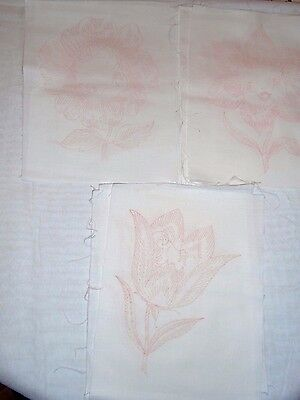 Lot of 10 Blocks Quilt Block FLOWERS 100% Cotton for Embroidery