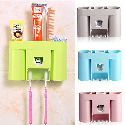 Automatic Lazy Toothpaste Dispenser 4 Set Toothbrush Holder Wall Mount Stand New