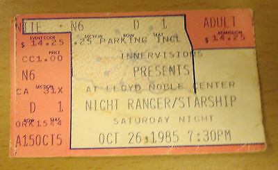 1985 Night Ranger Jefferson Starship Norman Oklahoma Concert Ticket Jack Blades