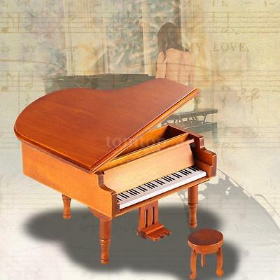 Windup Wooden Piano Classical Melody Music Box Castle in the  Melody H7I3
