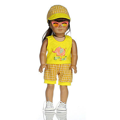Handmade 3pcs/set Yellow Plaid Outfits Clothes for 18inch American Girl Doll