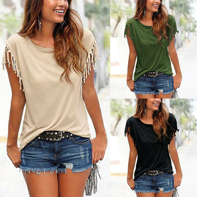 ISASSY Women Tassels Short Sleeve Loose T-Shirt Ladies Summer Casual Tops Blouse