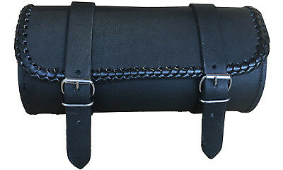 New Motorcycle Hand Made BRAIDED EDGE Leather Buckle Tool Bag