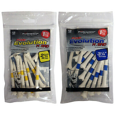 Pride Professional Tee System Evolution Hybrid Golf Tees - New 12 Pack Bundle