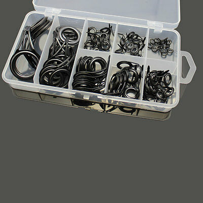 75pc Stainless Steel Fishing Rod Guide Tip Repair Kit Eye Ring Set With Box