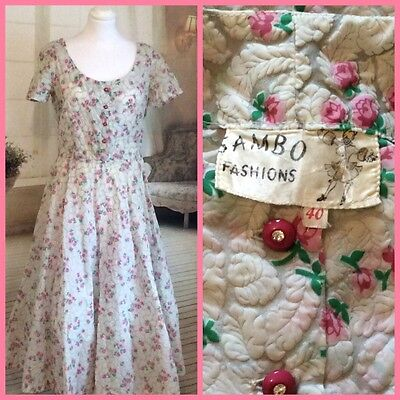 Vintage Original SAMBO Rose Print 1940/50s Dress Size UK12/14 Rockabilly/Pin Up