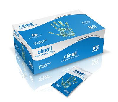 Clinell Antibacterial Hand Wipes Alcohol Free (Pack of 100)