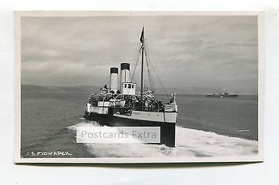 """Paddle steamer """"Monarch"""" off coast with passengers - old postcard-sized photo"""